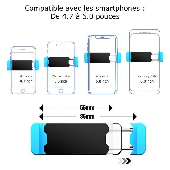 support de téléphone voiture largeur