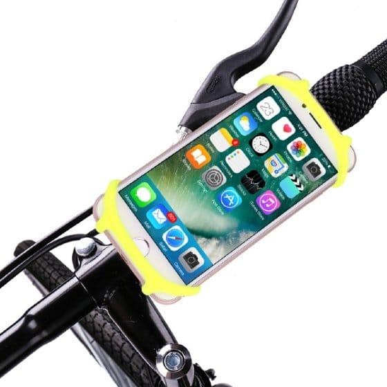 support smartphone moto jaune