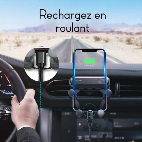 support téléphone voiture grille aération charge