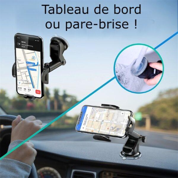support telephone voiture ventouse tableau de bord