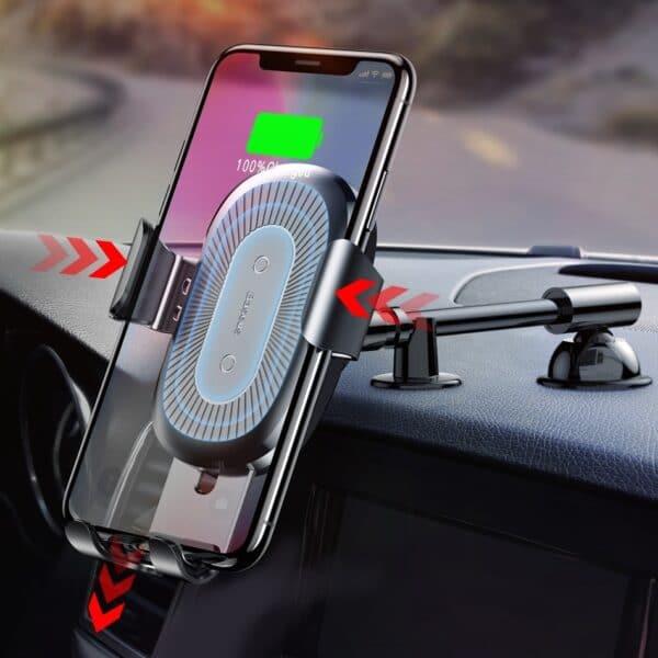 recharge sans fil du support de téléphone pour voiture fixe