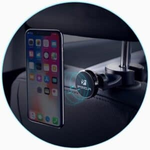 Support téléphone pour voiture avec fixation crochet à l'appui-tête